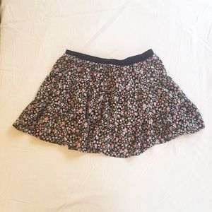 Forever 21 Red Black and Purple Floral Mini Skirt